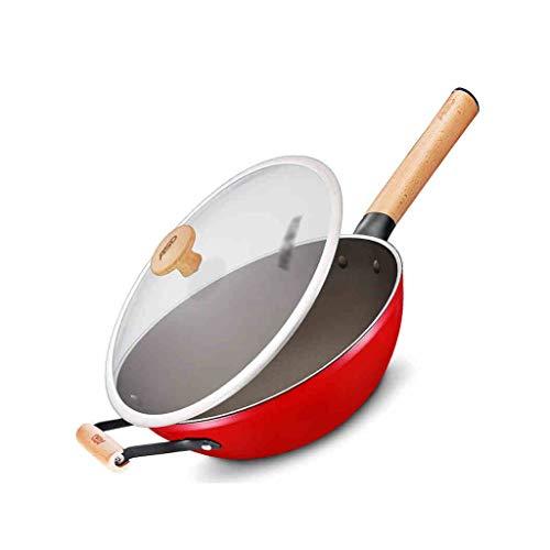 Wok Wok E Stir Fry Pans delle Famiglie A Basso Fumi Olio Sano Wok Smalto Wok Grande capacità (Color : Red, Size : 32cm)