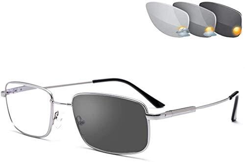 Gafas de Lectura Gafas de Lectura Transición Fotocromáticas, Titanio Material Memoria, lectores al Aire Libre Gafas de Aviador for UV400 / antideslumbrante/en Reading Ampliación 1,00-3,00 Fuerza gaf