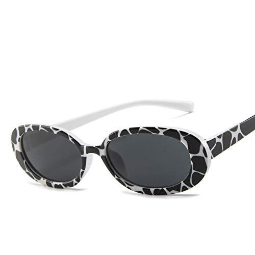 ShZyywrl Gafas De Sol Gafas De Sol Ovaladas Mujer Vintage Marco Redondo Blanco Hombre Gafas De Sol Vacasgray