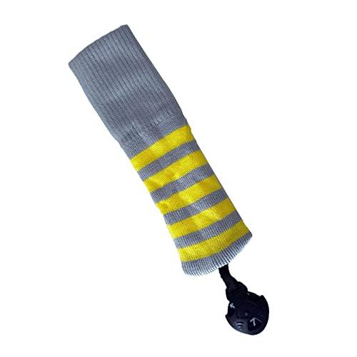 Colcolo Golf Iron Head Club Protector Protector Protector Enigas Lana Elastic Knit Neck Accessori da Golf Sport per Il Campo da Golf Consegna a Mano a - Striscia Gialla Grigia