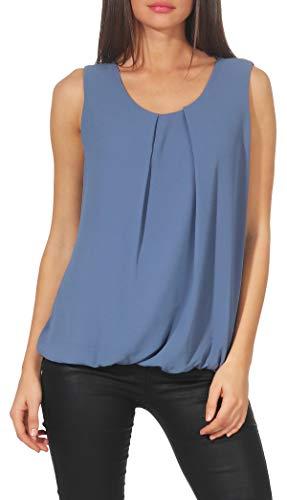 Malito Damen Bluse ärmellos | Tunika mit Rundhals | leichtes Blusenshirt | Elegant - Shirt 6879 (Jeansblau)
