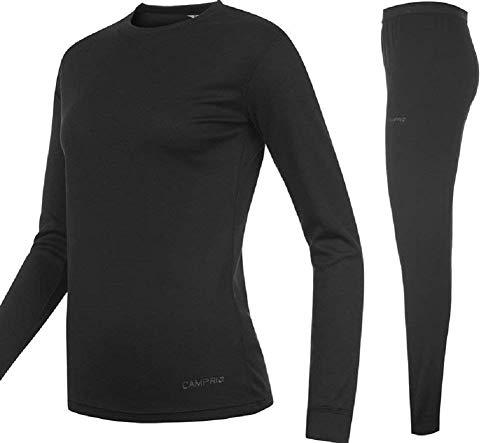 Campri Sports Base Layer Junior Thermal Top & Pant Set Black Unisex (11-12 years LB)