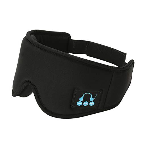 BCBIG Bluetooth Schlafmaske, Bluetooth 5,0 Kabellos Musik Maske, Kabellos Bluetooth-Kopfhörer Travel Sleeping Headset, Super Komfortable, Für iPhone, Android, iPad,für Reisen mit Dem Flugzeug,Black