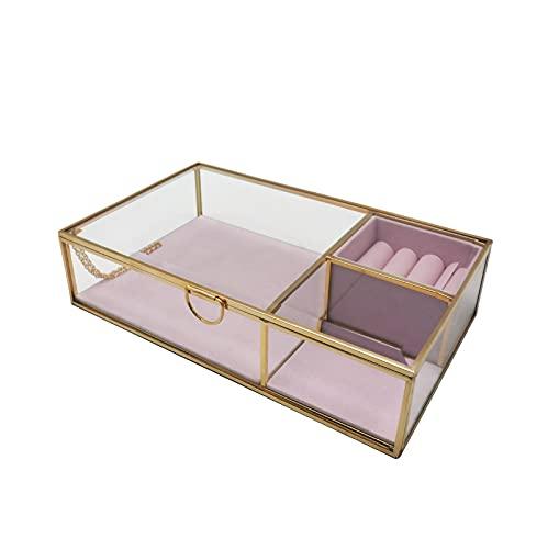 YMHM Joyero Caja Decorativa de Vidrio Transparente Vintage para Decoración del Hogar, Organizador de Caja de Joyero Pequeño,Pink