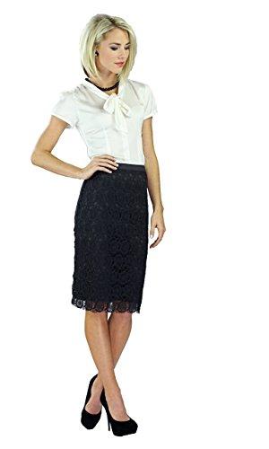 """Mikarose Women's """"Lace"""" Modest Skirt, Black"""