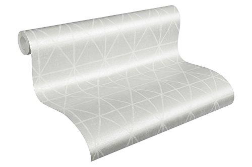 A.S. Création Vliestapete Scandinavian Style Ökotapete Tapete grafisch 10,05 m x 0,53 m grau metallic weiß Made in Germany 341378 34137-8