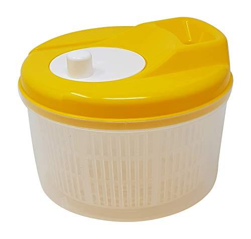 Tosend Salatschleuder zum Trocknen von Gemüse und Salatschüssel platzsparend (gelb, 3,5 Liter)