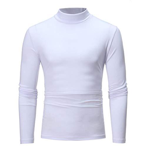 Camiseta de Manga Larga con Cuello Alto y Cuello Alto de Color Puro de otoño Invierno para Hombre BaZhaHei Tops de Cuello Alto elástico de Color sólido en otoño e Invierno para Hombre