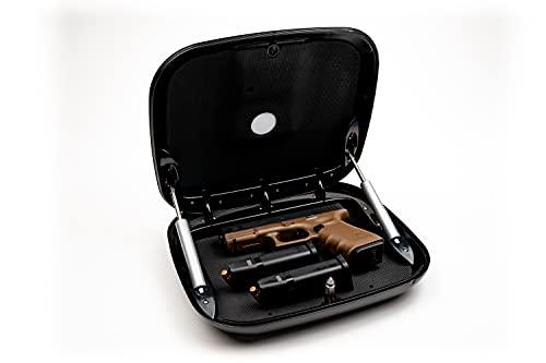 The GunBox 2.0 The Smartest Quick Access Gun Safe - RFiD and Biometric Fingerprint Scanner - Gunsmoke (Brown/Gray)