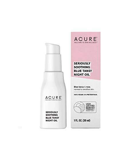 Acure Seriously Soothing Tansy Night Oil 100 Vegan For Dry To Sensitive Skin Tansy Rose Oil Ounce, blue, Unscented, 1 Fl Oz
