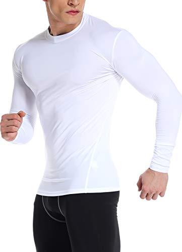 INSTINNCT Herren Langarm Kompressionsshirt langärmlig Rundhals-Ausschnitt Unterhemd Funktionsshirts Weiß M