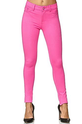 Elara Damen Legging Skinny Fit Hose Chunkyrayan H01-27 Pink 38 (M)