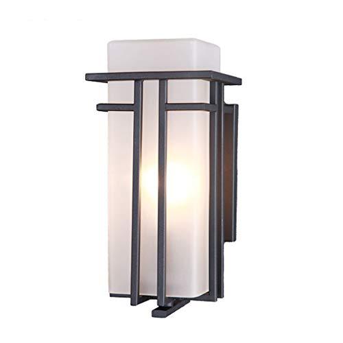 NJ Applique- Lampe de mur extérieur en verre Moderne Minimaliste suspendu extérieur Lampe de jardin étanche Jardin de lumière Corridor Allée Balcon Lampe Terrasse Lampe (Couleur : NOIR-17X14X30cm)
