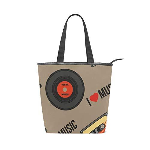 Irud Canvas Tote Bag Musik Tape Disc Wiederverwendbar Schultertasche Frauen Hand Tote Einkaufstasche für Einkaufen Täglich Arbeit Schule Reisen