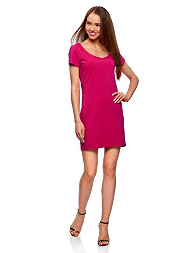 oodji Ultra Damen Enges Kleid aus Baumwolle, Rosa, DE 36 / EU 38 / S