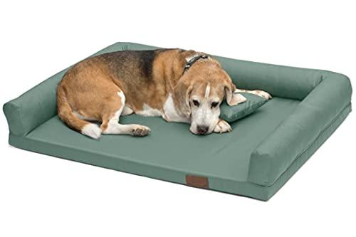 Cama ortopédica para perros, cojín para perros con borde, tamaño mediano y grande, sofá para perros prestiges con funda extraíble y lavable, Lucky, L-XXL (L/XL 120 x 90 cm, menta oscura (Nº 55))