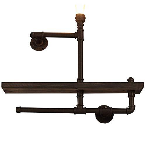 YLCJ Boekenrek wandrek voor industriële oren, antiek hout, wandlamp van ijzeren buizen, doe-het-zelf zwemframe, 65 x 65 cm