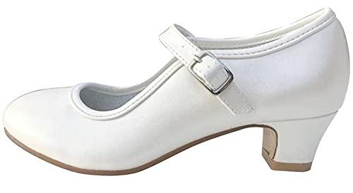 La Senorita Hiszpańskie buty Flamenco – Ivory białe, biały - Weiß Ivory - 34 EU