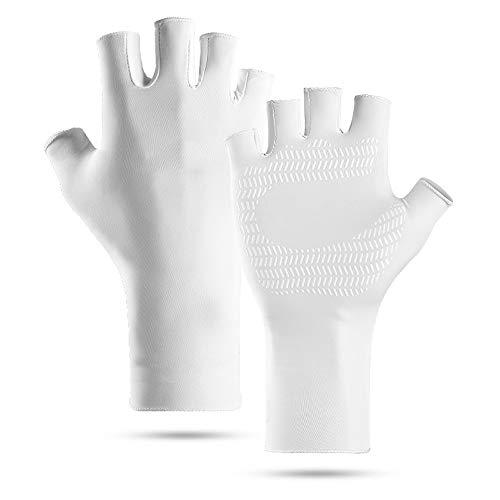 No-Branded UV-Angelhandschuhe, Sonnenschutz, fingerlos, Kajakhandschuhe, für Herren und Damen, zum Segeln, Wandern, Rudern, Autofahren, Rarusha (Farbe: Weiß, Größe: L)