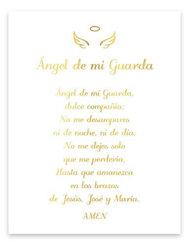 Ángel de mi Guarda Prayer, Spanish Catholic Poem, Gold Foil Print, Angel Nursery Wall Decor Poster, Inspirational Quote, Unframed Cardstock Home Decor