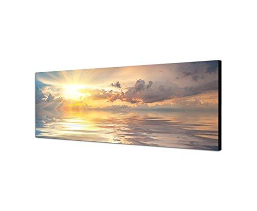 Leinwandparadies Quadro stampa su tela come Panorama in 150x 50cm tramonto al mare nuvole mirroring