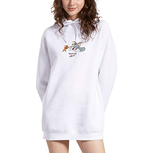 Reebok Tom and Jerry - Sudadera con capucha para mujer, color blanco