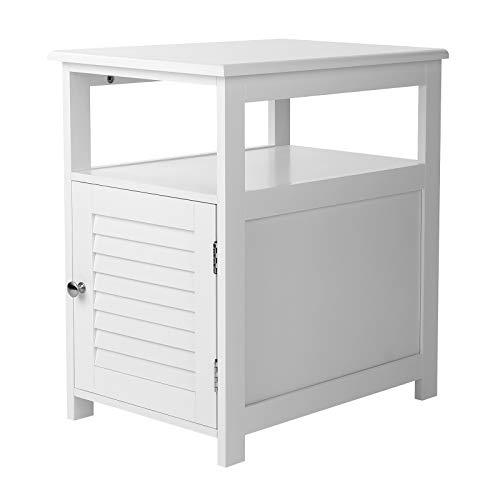 VASAGLE Nachttisch, Beistelltisch mit Lamellentür, Nachtschrank, Beistellschrank mit offenem Fach, 35 x 50 x 55 cm, skandinavischer Stil, weiß LET121W01