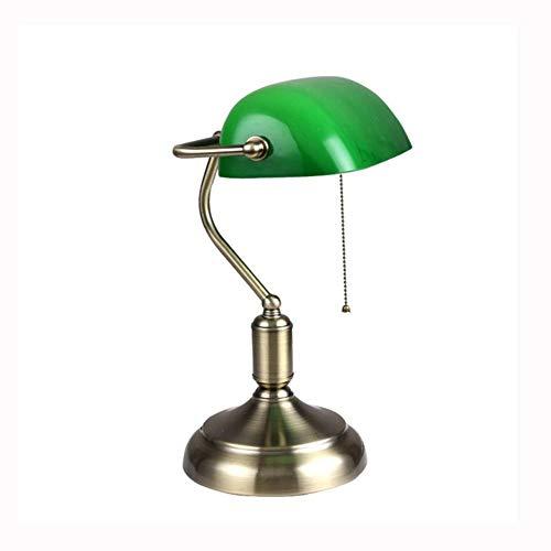 JCCOZ-URG Escritorio Escritorio de Lectura Retro Estudio lámpara de Hierro Estadounidense lámpara de Escritorio Protección de los Ojos Green Bank Dormitorio lámpara de Escritorio URG