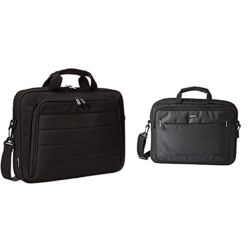 Amazon Basics - Tasche für Laptop und Tablet, Schwarz, 40 cm & kompakte Laptoptasche, Umhängetasche/Tragetasche mit Taschen, für Laptops bis zu 15,6 Zoll (40 cm), Schwarz, 1 Stück