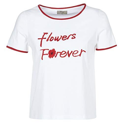 betty london INNATIMBI T-Shirt & Polo Femmes Bianco/Rosso - S - T-Shirt Maniche Corte