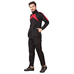 Fashion7 Mens Polyester Tracksuit - Black Tracksuit for Men Sports
