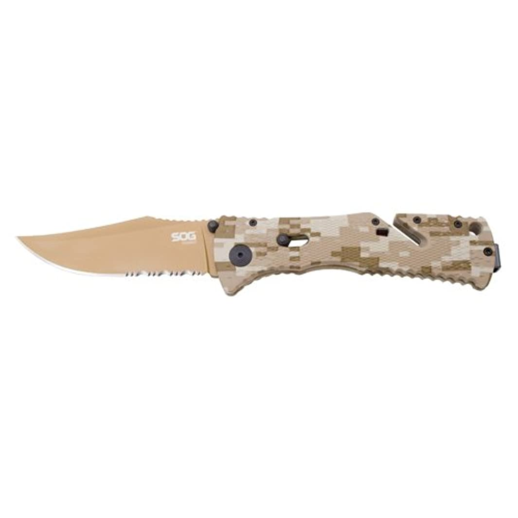 SOG Specialty Knives TF5-BX Trident Partially Serrated Tini Knife, Copper/Desert Camo