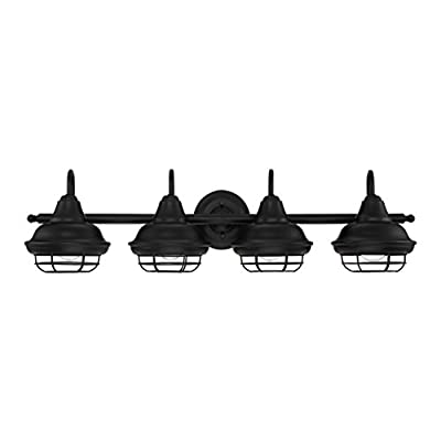 Designers Impressions Charleston Matte Black 4 Light Wall Sconce/Bathroom Fixture: 10014