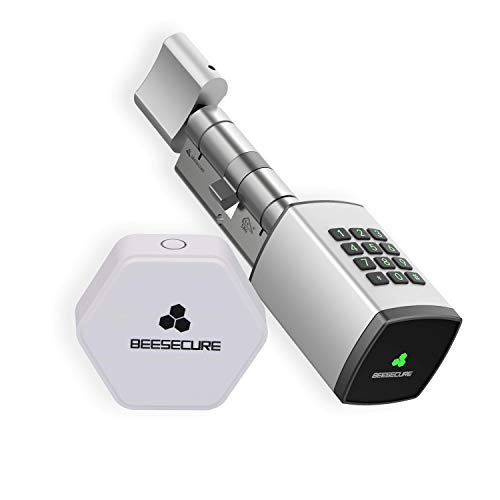 BeeSecure Smart Lock P1 and Hub Pack | BEE-LOCK P1 Pack | Euro Profile Cylinder | Code lock and Wifi | Electronic door | 35-35| Silver