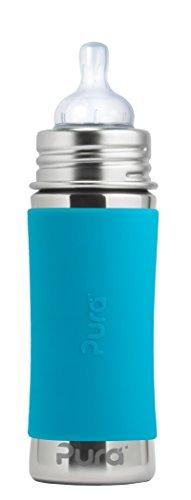 Pura kiki Babyflasche Edelstahl Blau 325 ml Schadstoffrei Plastikfrei