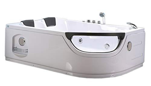 Bañera hidromasaje Model LUNA 120 x 180 cm Bañera de esquina spa hidromasaje Piscina Spa Terapia luz de colores Para 2 NUEVA