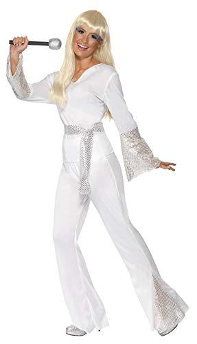 Smiffys-22170L Disfraz de discotequera de los 70, con Top, Pantalones y cinturn, Color Blanco, L-EU Tamao 44-46 (Smiffy'S 22170L)