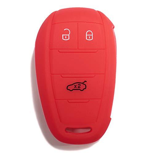 [Portachiave] Guscio Cover Chiave in Silicone per Telecomando Auto Alfa Romeo 3 tasti (vedere compatibilità nelle foto) Giulia Stelvio Giulietta (ROSSO)