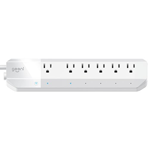 Geeni 6-Outlet Smart Surge Protector No Hub Wireless Remote Control and Timer –Works with Amazon Alexa, Google Assistant & Microsoft Cortana, Requires 2.4 GHz Wi-Fi, White