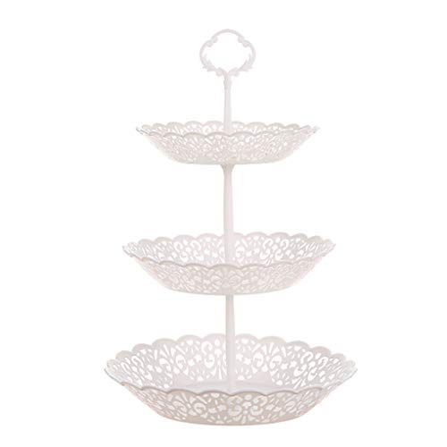 zhibeisai Fruits Tray 3 Layer Snacks Plate Cupcake Dessert Stand Hollow Detachable Food Rack for Living Room