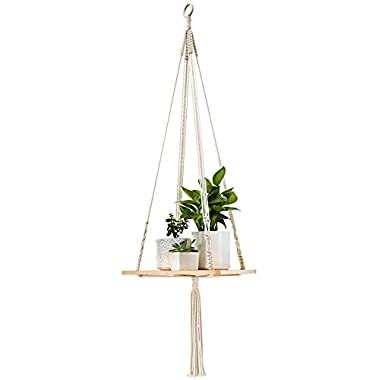 Mkono Macrame Shelf Hanging Planter Plant Hanger Home Decor 45 inches