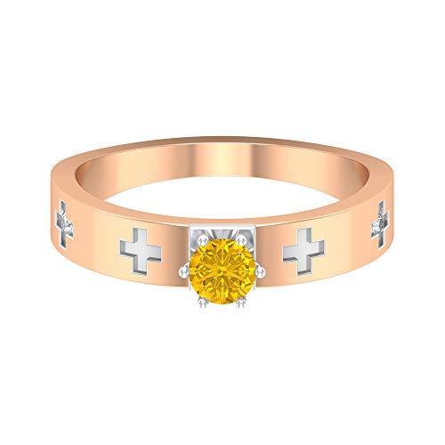 Rosec Jewels 18 quilates oro rosa redonda round-brilliant-shape H-I Yellow Diamond zafiro sintético amarillo