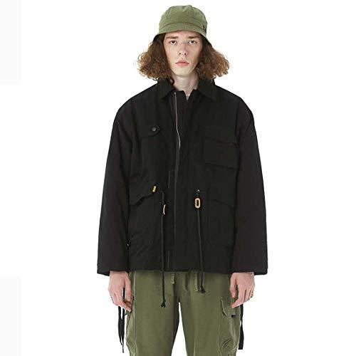 Yuyudou Mannen Casual Jas Winddicht Volledige Zip Softshell Jas Comfortabele Zwart/Groen Trench Jas voor Winter/Herfst