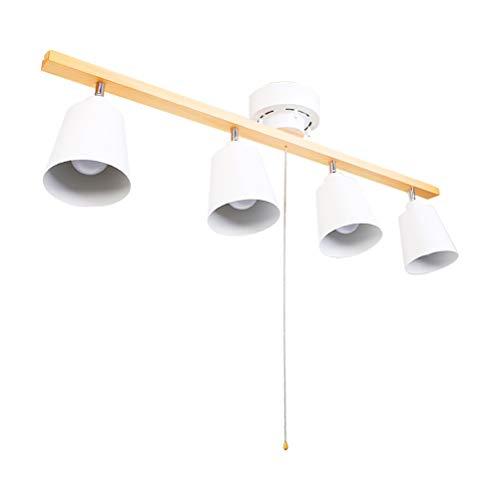 Holz E27 Deckenleuchte mit Zugschalter, Moderne Deckenlampe Verstellbare Strahlern, 4-Flammig, Einstellbar Abstrahlwinkel 270°, Metall Lampenschirm, für Wohnzimmer Schlafzimmer Küche, Weiß
