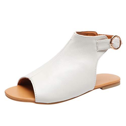Zapatos Planos Mujer Verano Peep Toe Hebilla Plana Zapatos Casuales Sandalias con Punta Abierta Sandalias Mujer Verano 2019 Planas Correa de Tobillo POLP