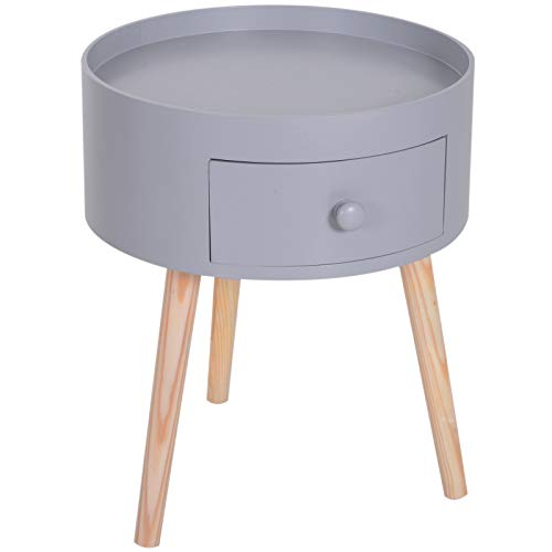 HOMCOM Chevet Table de Nuit Ronde Design scandinave tiroir Bicolore Pieds effilés inclinés Bois Massif chêne Clair Gris