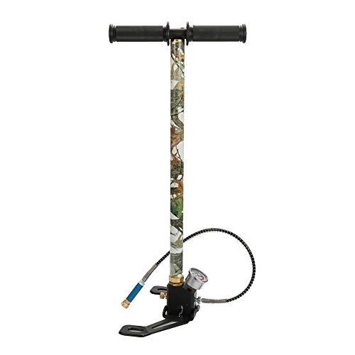 Festnight Calibrador de presión grande Base plegable 40 MPa 6000 psi Bomba de aire manual para bicicleta de coche de alta presión PCP con separador de agua y aceite y conector rápido hembra de 8 mm