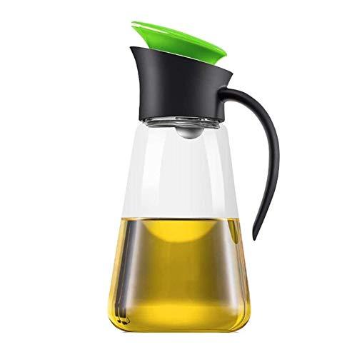 Aceitera y vinagrera Botella de aceite de oliva con el casquillo automática, de alta vidrio borosilicato y aceite vinagre y la salsa de soja Botella dispensadora de 550 ml de cocina ( Color : Green )