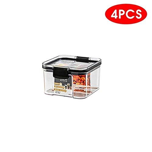 HAILI 2 / 4PCS Contenitore per Alimenti in plastica Pet Contenitore per Alimenti Secco impilabile Trasparente Contenitore da Cucina tagliatella Contenitore sigillato, 4 Pezzi460 ml
