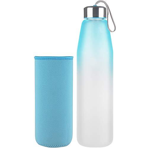 DEARRAY Sport Glas Trinkflasche 500ml / 1000ml / 1 Liter, Borosilikatglas Wasserflasche mit Neoprenhülle und Stilvollem Edelstahldeckel
